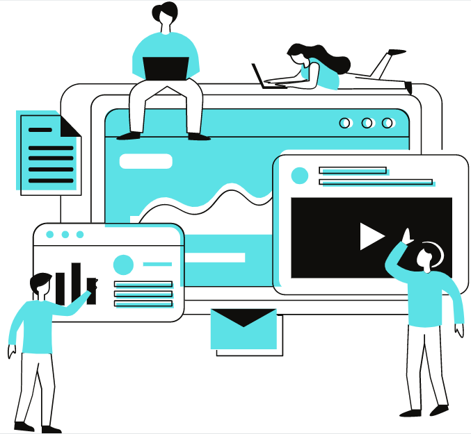 Website building cartoon with many people and windows